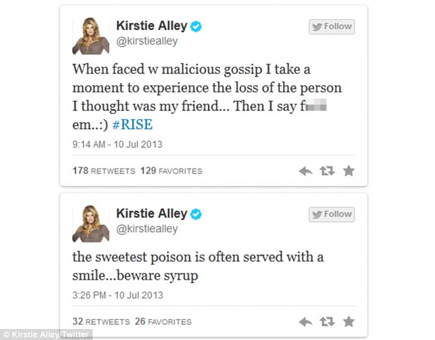 Cryptic tweets: Kirstie posted these messages on July 10
