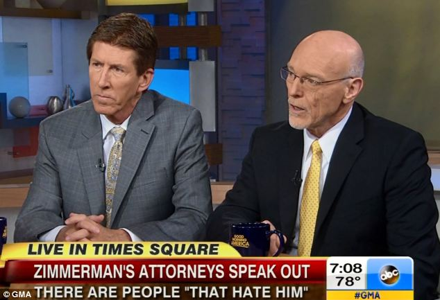 Speaking out: Attorneys Mark O'Mara (left) and Don West (right) said Zimmerman could bring his own suits following his not guilty verdict on Saturday. They said that he now lives in fear