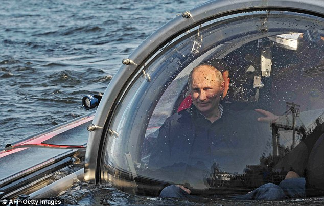 Mr Putin today rode the small submersible craft 60 metres (200 feet) down to see the remains of the naval frigate Oleg, which sank in 1869, Russian news reports said