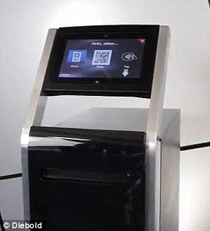 Diebold's portable touchscreen ATM, pictured, is two-thirds of the size of a traditional cash machine and is Wi-Fi enabled