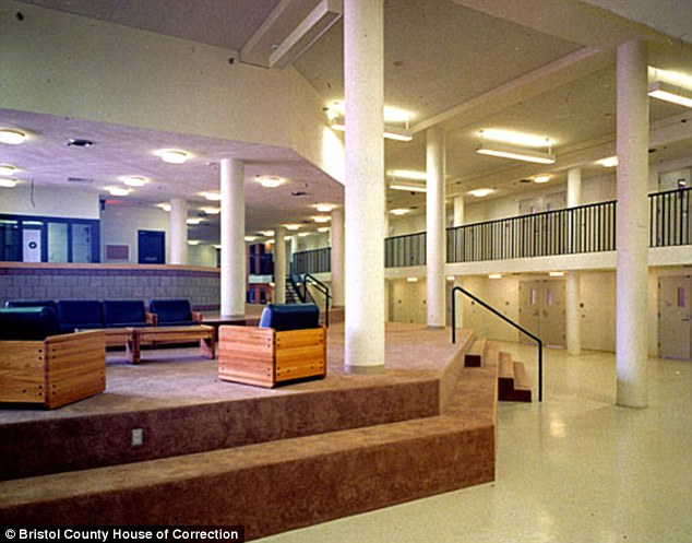 Inside the facility: Hernandez spends 21 hours a day in a solitary 7ft by 10ft cell at Bristol County House of Correction (a common area pictured in the jail)