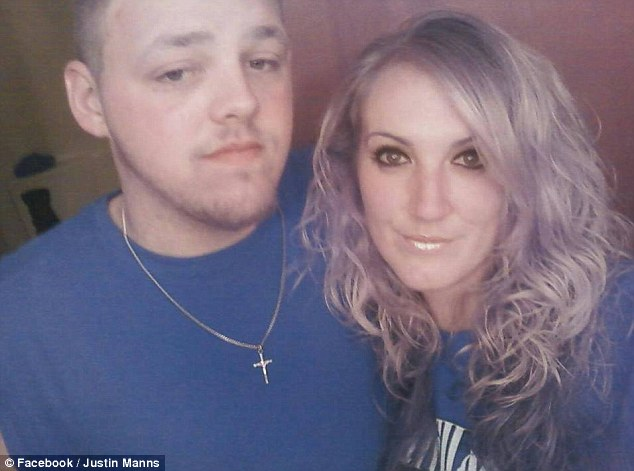 Stabbed: Teresa Nelson, 28, right, called police and reported that her ex-boyfriend, Justin Manns, 22, left, was banging on her door and threatening to kill himself on her porch