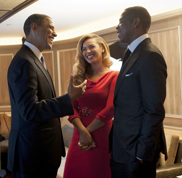 Friends: Beyonce and Jay Z hosted a fundraiser for Mr Obama during his 2012 campaign, where the President said that Beyonce could not be a better role model for his daughters