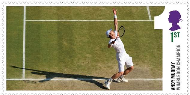 Two stamps show the Scot with the trophy (one at first class rate and one at the £1.28 overseas letter rate) and two are action shots from the final (one at first class rate and one at the £1.28 overseas letter rate)