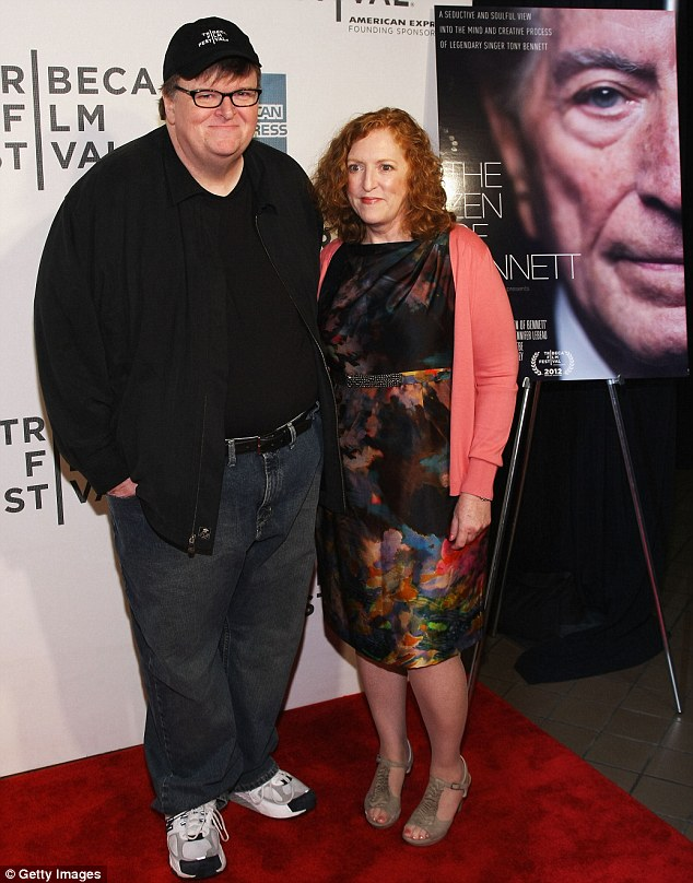Michael and Me: Moore and wife Kathleen Glynn on the red carpet at the Tribeca Film Festival last year