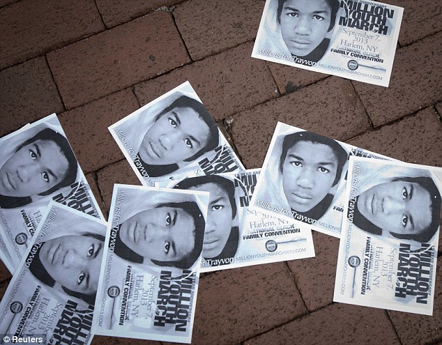 Continuing protests: Posters announcing a future rally for Trayvon Martin in New York