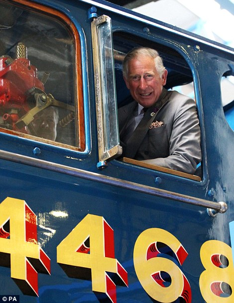 The Prince in the cab of a train today