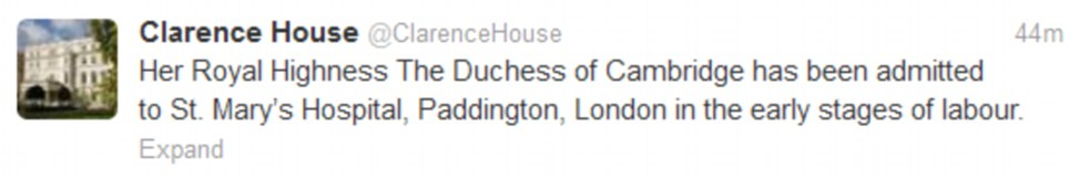 Excitement: Clarence House made the announcement this morning that the Duchess was finally in labour