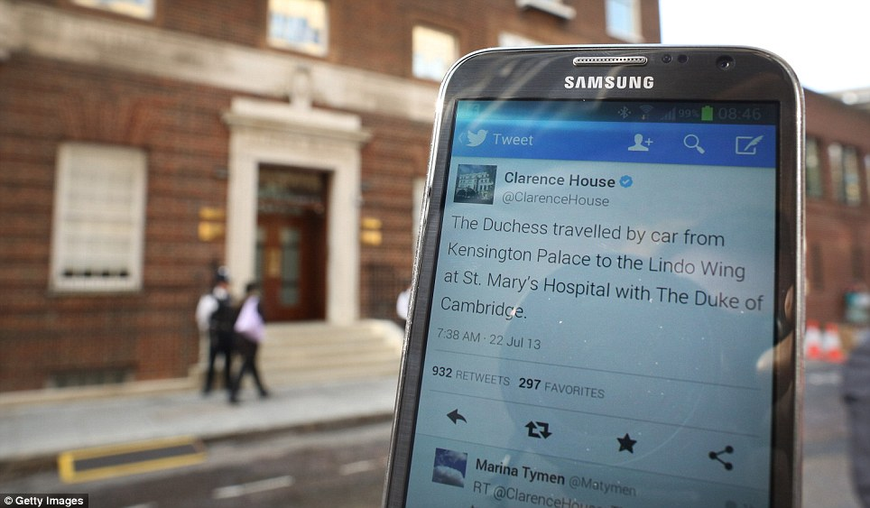 Modern age: Clarence House sent a press release and tweeted when they were able to confirm that the royal baby was on its way