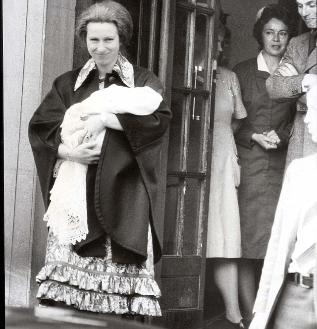 A smiling Princess Anne leaves the private Lindo wing of St Mary's Hospital, Paddington, with her new born baby daughter Zara on May 19 1981