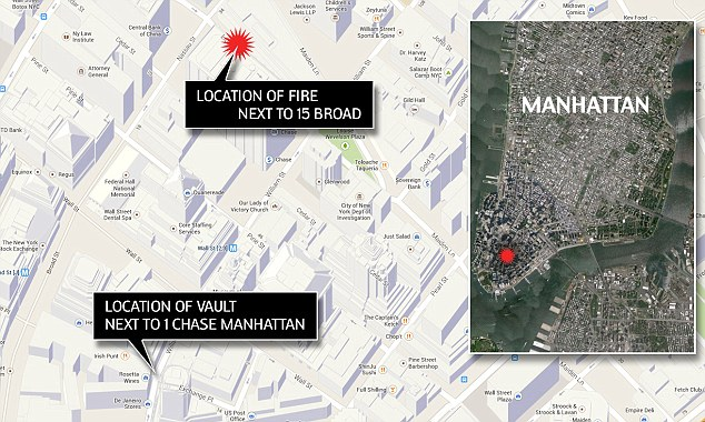 Not quite: the supposed 'vault fire' was nearly a half-mile from where J.P. Morgan Chase is rumored to stash its gold