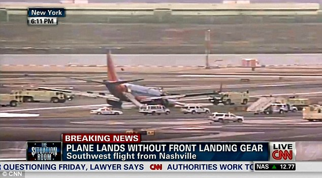 No injuries: Southwest Airlines Flight 345 crash-landed at New York City's LaGuardia Airport on Monday evening. It was forced to slide on the tarmac after its front landing gear failed to deploy