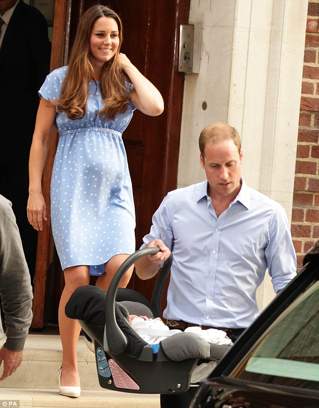 Gesture to their baby boy: Both the Duke and Duchess of Cambridge wore blue - as a nod to their newborn's gender?