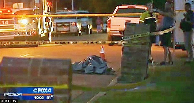 Heartbreaking: The arrest comes after Alanna's body was found tied and partially naked with a bag over her head under this tarp in the street. A 14-year-old boy came across her body