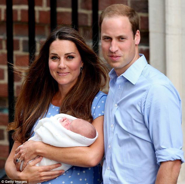 2013: The Duchess of Cambridge in her blue polka dot Jenny Packham dress outside St Mary's yesterday