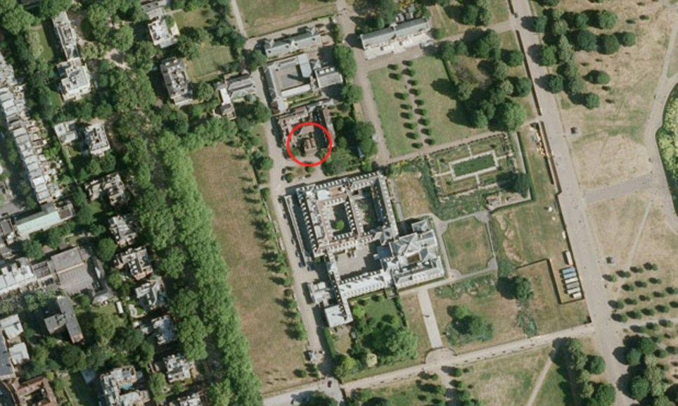 Home sweet home: Nottingham Cottage, the two-bedroom pied-a-terre circled in red in the grounds of Kensington Palace, is the baby's first home