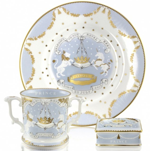 Pricey: This official collection of royal memorabilia costs £195 for a loving cup; £45 for a dessert plate; and £30 for a pillbox