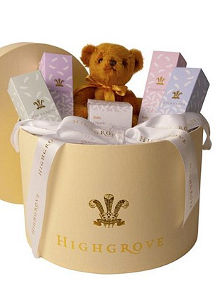 Unhampered joy: A limited edition £195 hamper box packed with Highgrove's organic bath and body products (and the teddy bear)