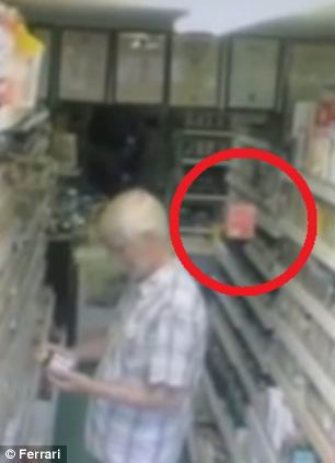 The footage, uploaded to YouTube, then shows them drop to floor and startle the man