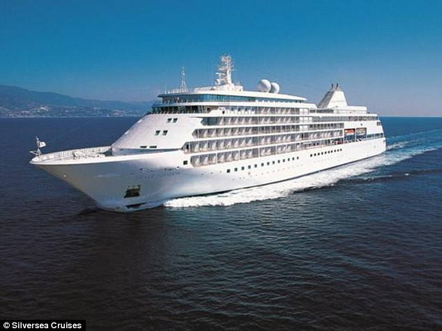 Ship: The Silversea Shadow, pictured, has been caught storing meat unrefrigerated in crew cabin sinks and trolleys full of blue cheese, milk and eggs in staff corridors