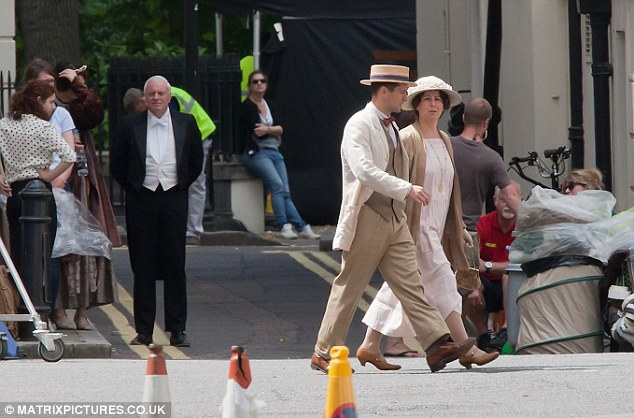 Change of scenery: The cast of Downton Abbey enjoyed a departure from their usual idyllic setting of Highclere Castle in Hampshire as they got to work shooting series four
