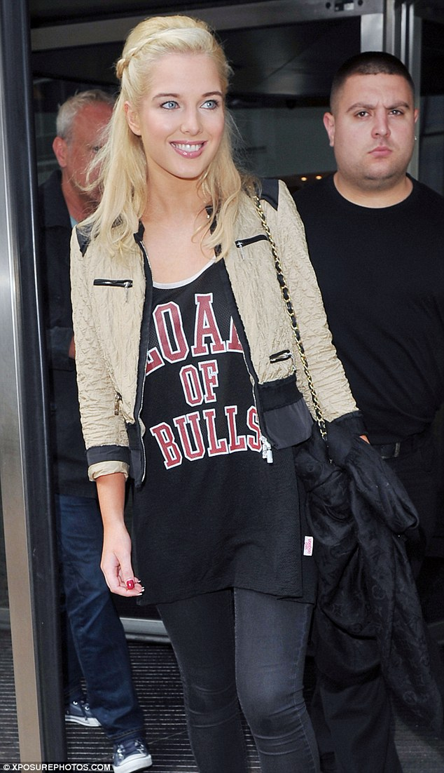 Load of bulls: Helen Flanagan steps out in a cheeky slogan t-shirt as she continues filming for her new show Celebrity Super Spa in Liverpool