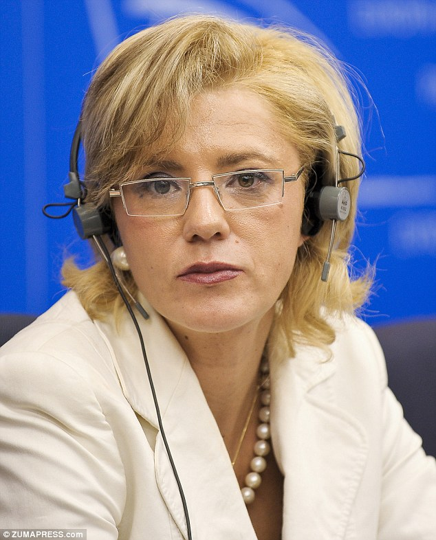 Cretu holds a press conference in 2009 on responding to violence against women in conflict. She is a member of the European Parliament