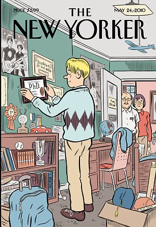 Coming home: A New Yorker Cover showing the pains of moving back home - both for the parents and the child. The study published yesterday found that college graduates are actually less likely to come home