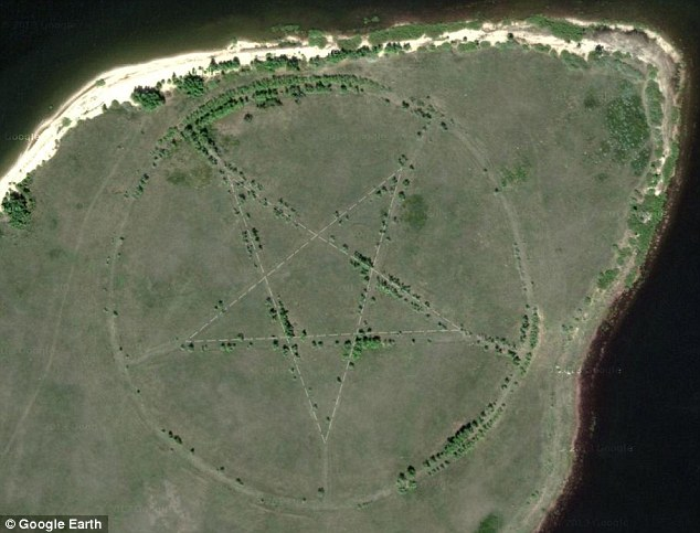 Work of the devil? The Kazakhstan pentagram pictured on Google Earth, is situated next to a reservoir in the north of the country