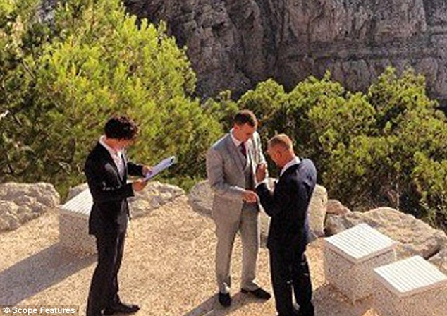 This homoerotic tease, and his role as minister at a gay wedding in Ibiza between two male friends, seem alarmingly out of character
