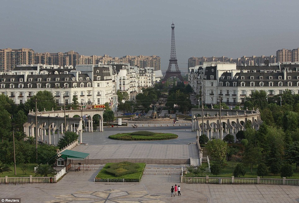 This is a view of the Tianducheng development in Hangzhou, China. Despite being built as a replica of Paris, the town has not proved popular and is virtually empty