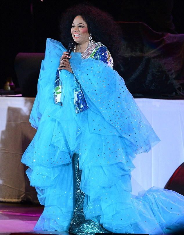 Waves of taffeta: Diana Ross swanned down on to the stage at the Hollywood Bowl on Saturday night
