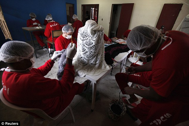Teamwork: Raquel says the inmates have proven their worth as knitters and are 'able to do any work'