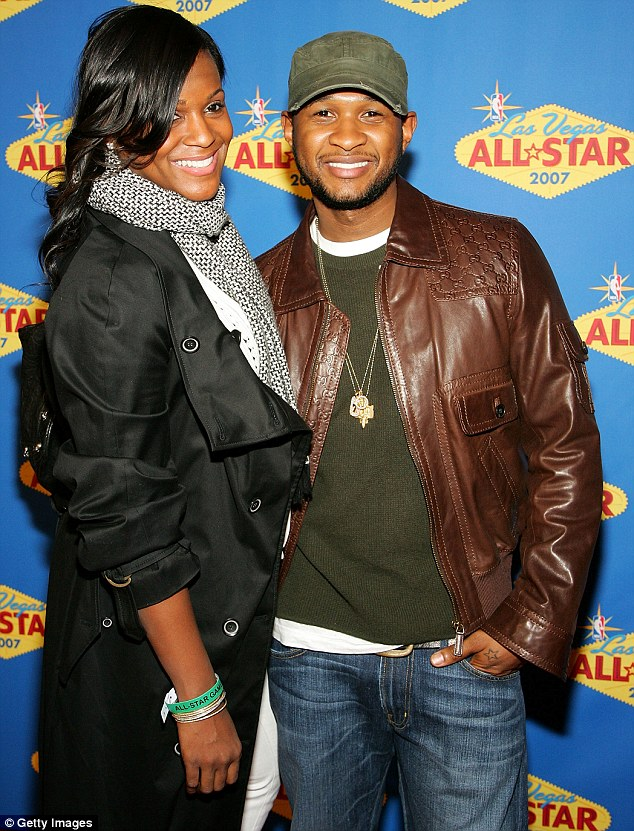 Happier times: Tameka and Usher, pictured back in 2007, two years before their divorce became finalised