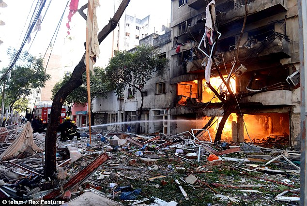 The blast happened at about 9.30am. Firefighters said it took three hours to put out the fires