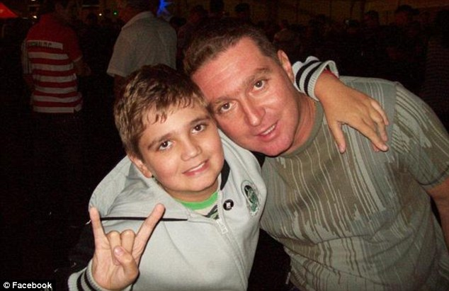 Killer: Marcelo Pesseghini poses with his police officer father in a Facebook photograph