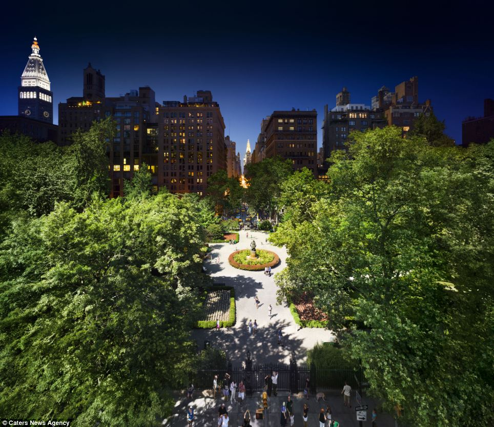 Gramercy Park in New York was snapped by photographer Stephen Wilkes who spends up to 15 hours to create just one composite image