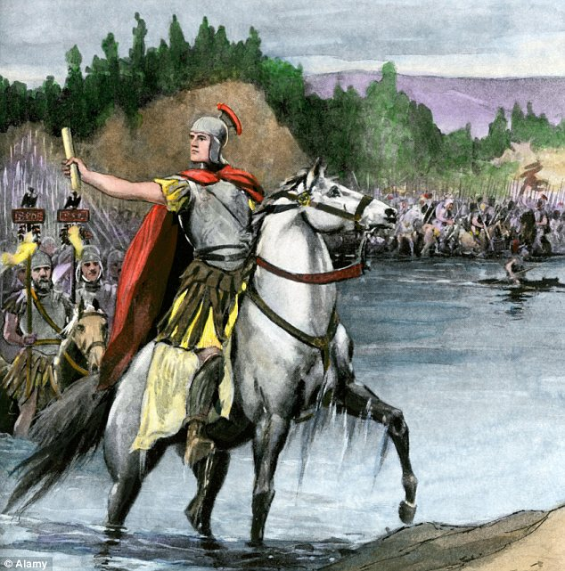 The moment: An artist's impression of Caesar leading his army across the river on the march from Gaul to Rome