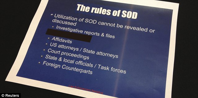 The DEA's Special Operations Division runs a secretive information-sharing program whose output is routinely concealed by other law enforcement agencies. Reuters redacted this image for what it said were 'security reasons'