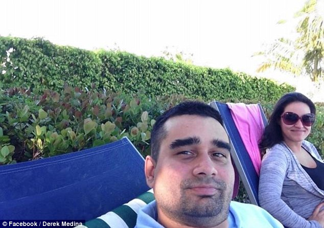Happier times: This Facebook photo from Medina's now-defunct account shows the murder suspect smiling while sitting in a lounge chair alongside his wife