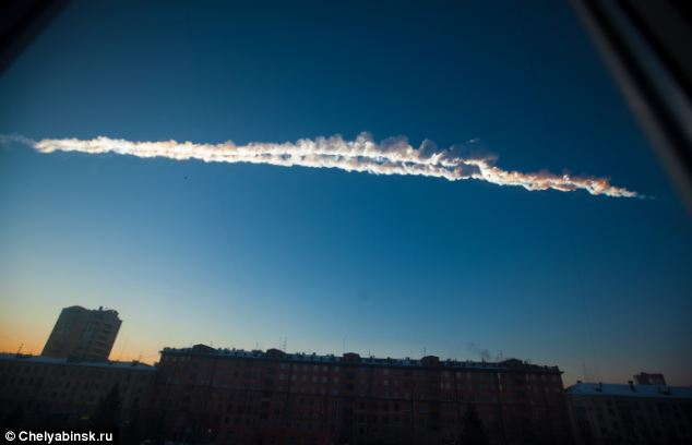 A meteor fireball, pictured, that crashed into Russia in February was part of a 656-feet wide asteroid called 2011 EO40.