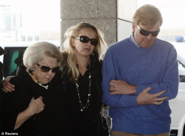 Family unit: Then Queen Beatrix, Prince Friso's wife Mabel and King Willem-Alexander, then Crown Prince, arrive at the university hospital in Innsbruck, Austria shortly after the accident