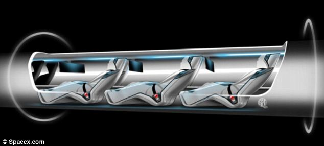 Smooth ride: ¿It would have less lateral acceleration¿which is what tends to make people feel motion sick¿than a subway ride, as the pod banks against the tube like an airplane,' creator Elon Musk said