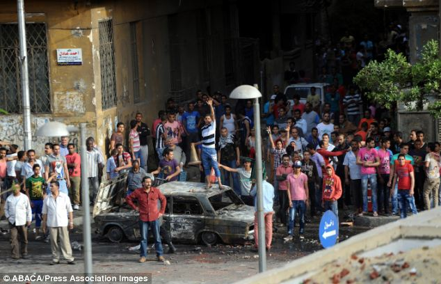 Aggression: Egyptians throw stones towards Coptic Christians in April
