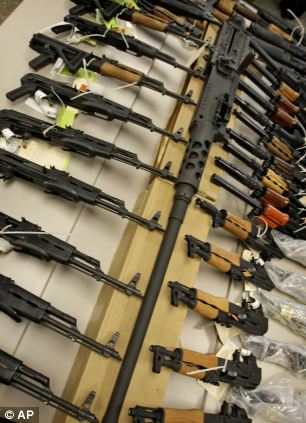 On Jan. 25, 2011 a cache of seized weapons displayed at a news conference in Phoenix