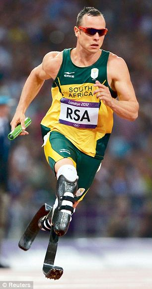 South Africa's Oscar Pistorius runs the final leg of the men's 4x400m relay final during the London 2012 Olympic Games
