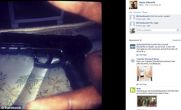 Showing off: A picture of a handgun on James Edwards' Facebook page