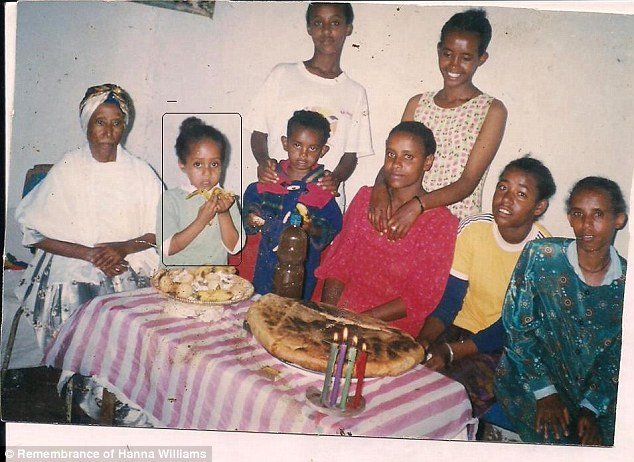 Hana, pictured second left, seen as a young girl with her family back in Ethiopia