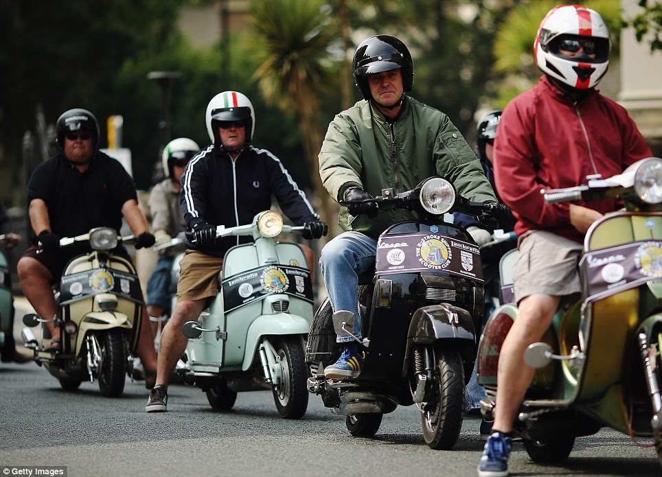 Italian stallion: Lambretta and Vespa are the most popular brands of scooter. Their Italian roots were further celebrated with one biker sporting the nation's flag on his helmet