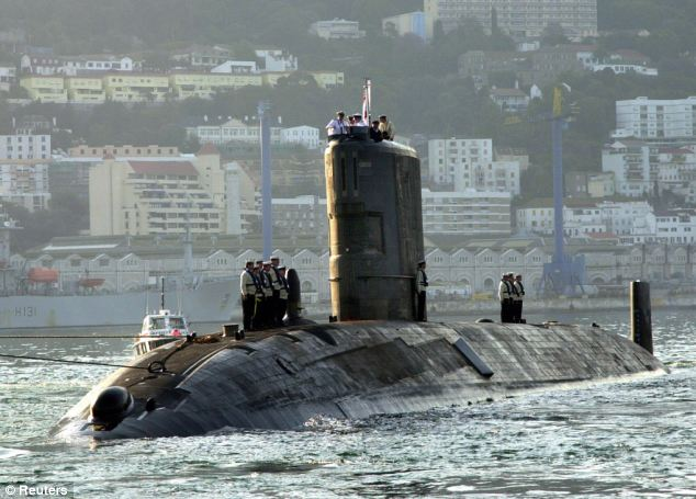 Witnesses say a British nuclear submarine, believed to be HMS Tireless (pictured), surfaced off Gibraltar